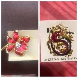 Orchid brooch and Dragon brooch